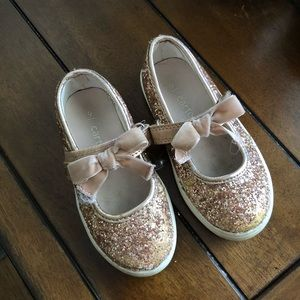 Pink gold sparkle Mary Jane bow shoes